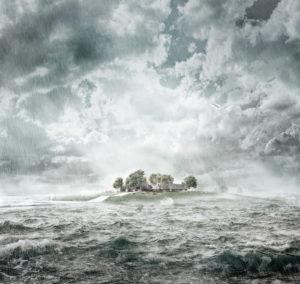 Hallig bei Sturmflut